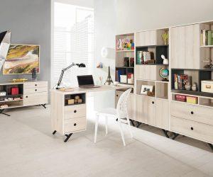 375-1優娜5尺L型四抽書桌